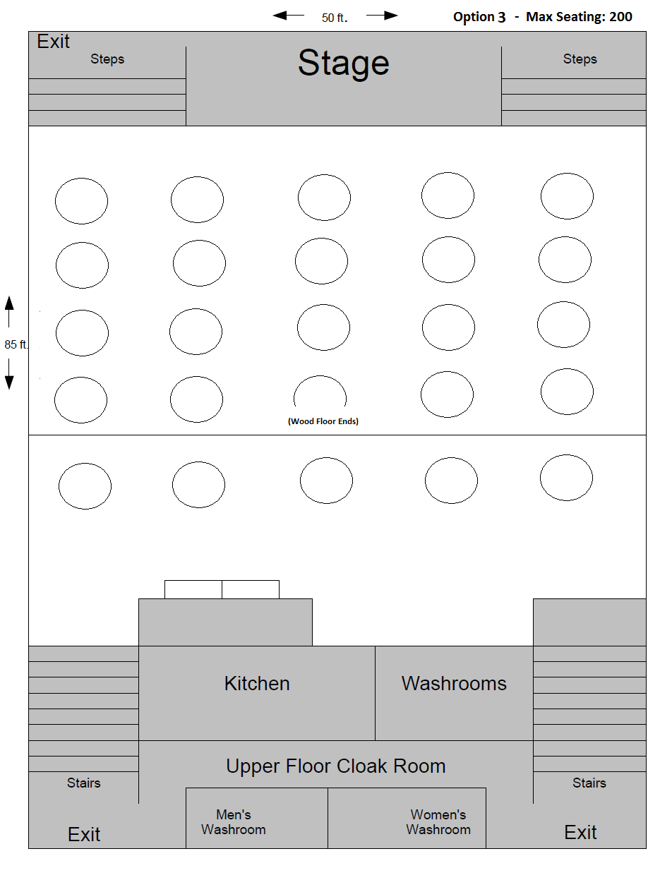 Banquet hall floor plan options st joseph 39 s parish for Banquet hall floor plan