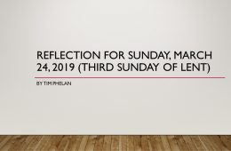 Reflection for Sunday, March 24, 2019 (Third Sunday of Lent) by Tim Phelan